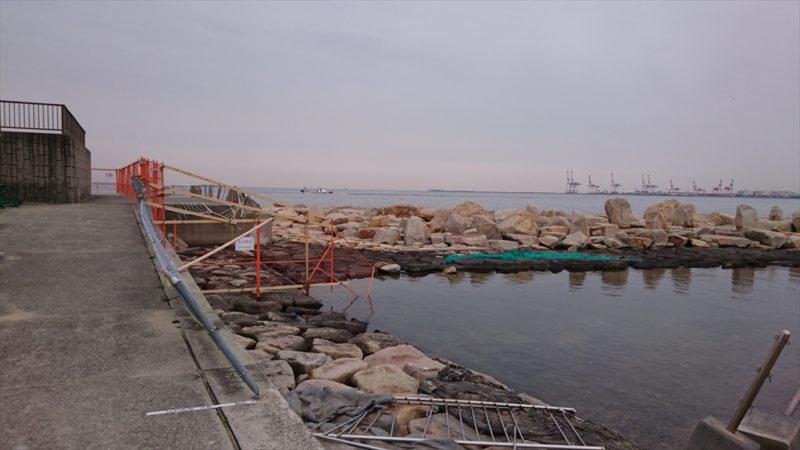 南芦屋浜ベランダの横石畳も立ち入り禁止